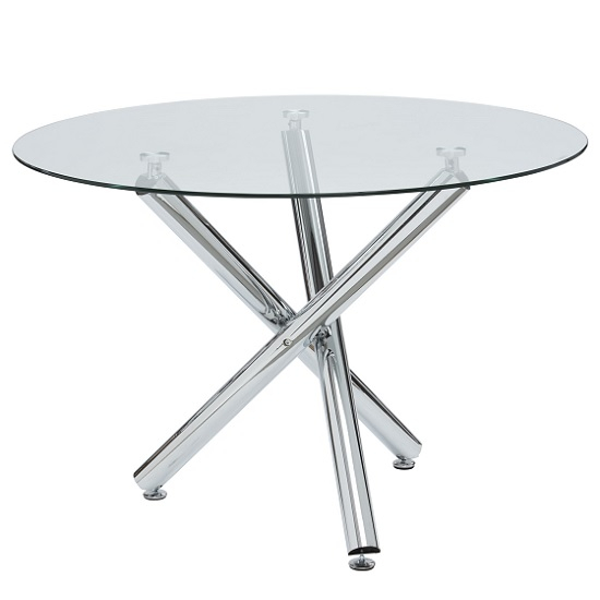 Chrome Dining Tables With Tempered Glass Intended For Latest Charles Glass Dining Table Round In Clear With Chrome Legs (#2 of 20)