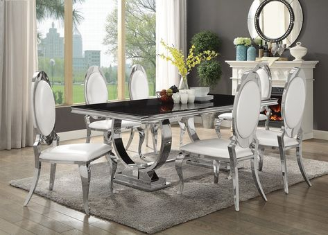 Chrome Dining Tables With Tempered Glass Pertaining To Recent Antoine Black Tempered Glass Chrome Dining Table Set (#3 of 20)