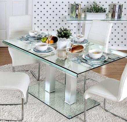 Chrome Dining Tables With Tempered Glass With Most Current Furniture Of America Cm3362Ttable (#4 of 20)