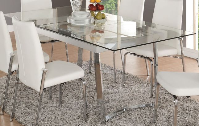 """Chrome Dining Tables With Tempered Glass With Regard To Latest Cyrene Contemporary 63""""  79"""" Tempered Glass Top Dining Table (#5 of 20)"""