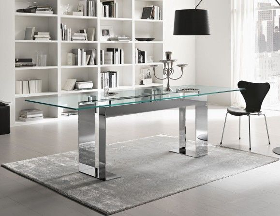 Chrome Dining Tables With Tempered Glass Within Well Known Miles Italian Designer Glass Dining Table Handmade In (#6 of 20)