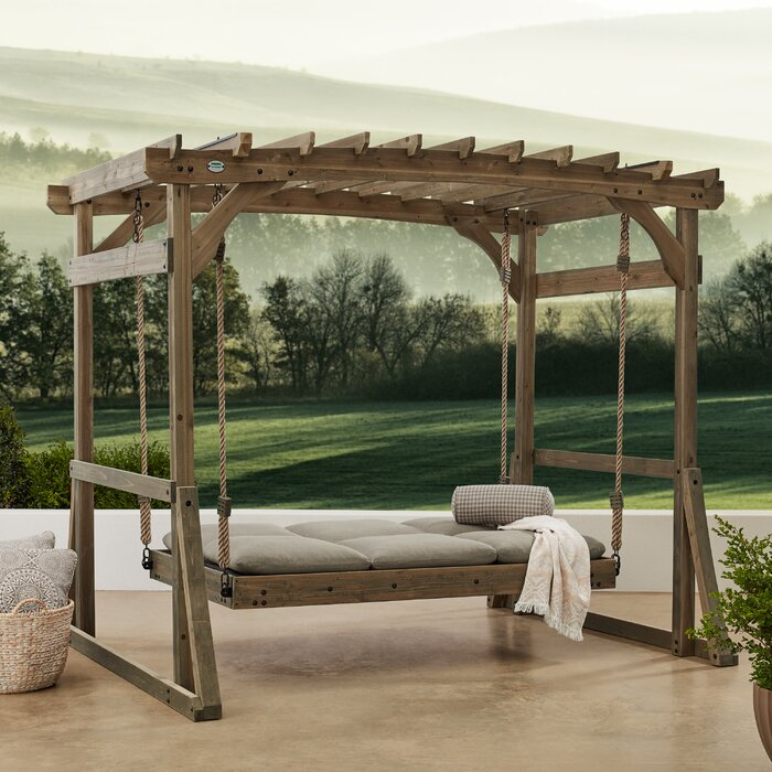Claremont Pergola Lounger Porch Swing With Stand With Pergola Porch Swings With Stand (#3 of 20)