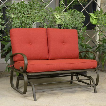 Cloud Mountain Patio Glider Bench Outdoor Cushioed 2 Person Intended For 2 Person Loveseat Chair Patio Porch Swings With Rocker (View 4 of 20)