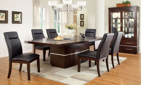 Contemporary 6 Seating Rectangular Dining Tables Regarding Popular Dining Table With 6 Chairs 7Pc (#9 of 20)