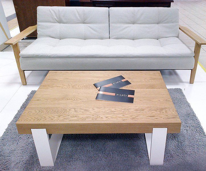 Contemporary Coffee Table / Natural Oak / Aluminum / Brushed In Most Recent Dining Tables With Brushed Stainless Steel Frame (#4 of 20)