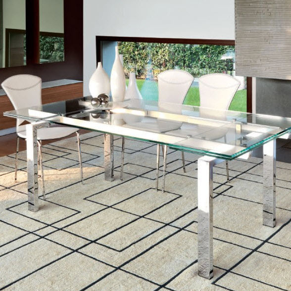 Contemporary Dining Table / Tempered Glass / Chrome Steel / Rectangular With Regard To Latest Chrome Dining Tables With Tempered Glass (#7 of 20)