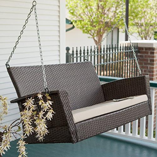Coral Coast Soho Wicker Porch Swing With Free Within Vineyard 2 Person Black Recycled Plastic Outdoor Swings (View 19 of 20)