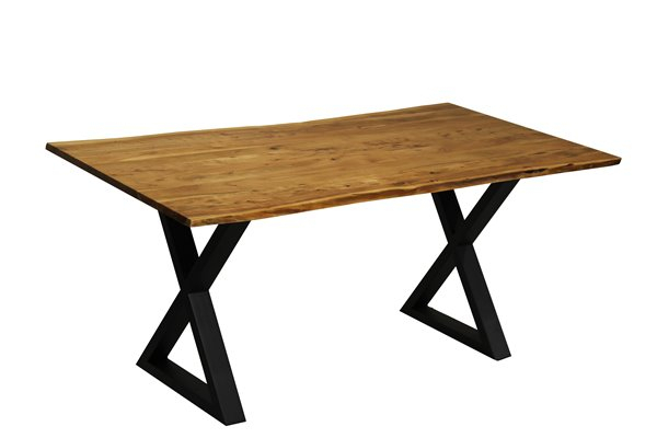 Corcoran Acacia Live Edge Dining Table With Black X Legs Throughout Current Acacia Dining Tables With Black Legs (View 20 of 20)
