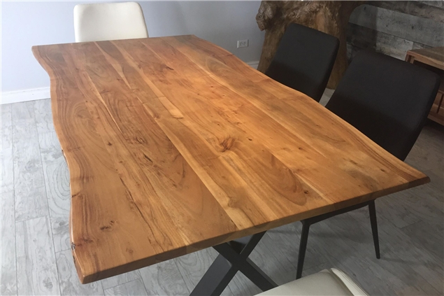 Corcoran Importation Zen Live Edge 67 Inches Dining Table Intended For Best And Newest Acacia Dining Tables With Black X Leg (View 8 of 20)
