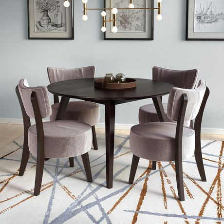Corliving Atwood 5Pc Cappuccino Dining Set With Grey Velvet For Most Recent Atwood Transitional Rectangular Dining Tables (#16 of 20)
