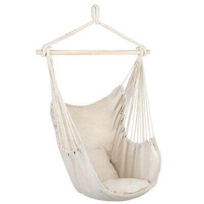 Cotton Canvas Hammock Hanging Rope Chair Swing Seat /w 2 Pillows Outdoor Garden | Ebay Intended For Cotton Porch Swings (View 11 of 20)