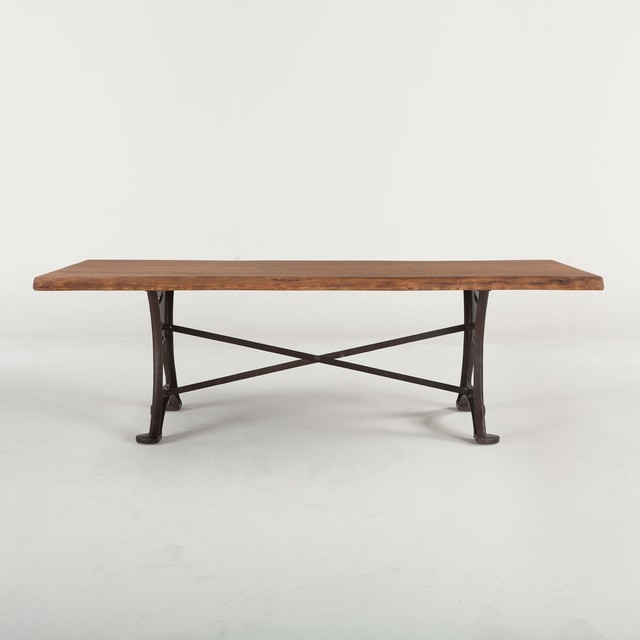 "Current 106"" Dining Table Solid Acacia Wood Raw Walnut Finish Organic Cast Iron Base Regarding Acacia Wood Top Dining Tables With Iron Legs On Raw Metal (#8 of 20)"