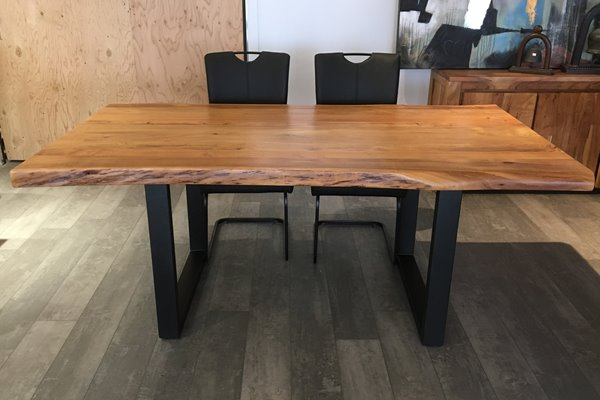 Current Acacia Dining Tables With Black Legs Intended For Corcoran Acacia Live Edge Dining Table With Black U Legs (View 18 of 20)