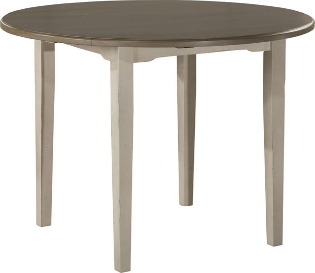 Current Alamo Transitional 4 Seating Double Drop Leaf Round Casual Dining Tables Inside Clarion Round Drop Leaf Dining Table, Distressed Gray Top, Sea White Base (#6 of 20)