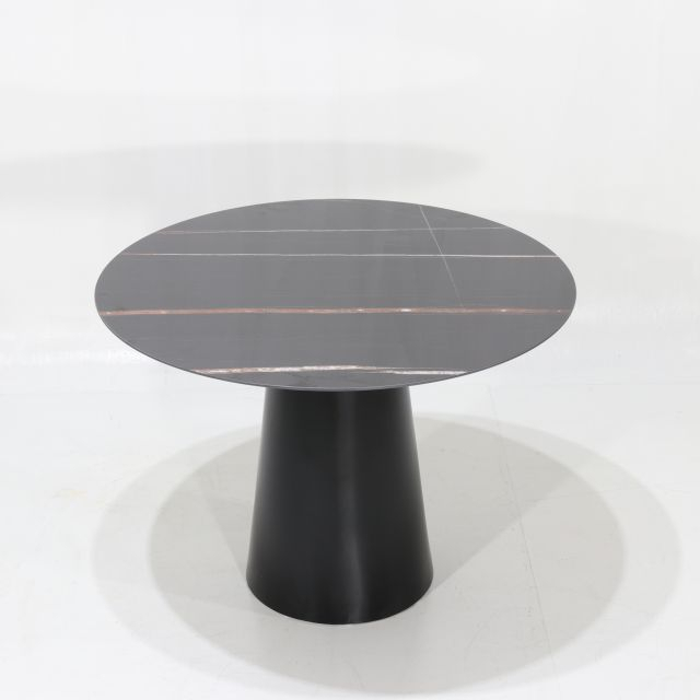 Current Beatrice Dining Table – With Ceramic Top With Black Guinea Marble Effect Intended For Modern Glass Top Extension Dining Tables In Matte Black (#3 of 20)