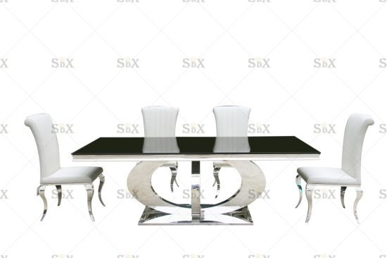 Current Classic Black And White Polished Steel Base And Black Tempered Glass Top  With 6 Dining Chair Orion Dining Table Set Intended For Long Dining Tables With Polished Black Stainless Steel Base (#3 of 20)