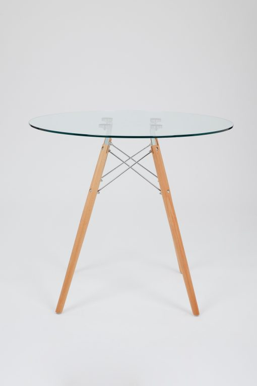Current Dining Glass Table With Beechwood Legs (Size: 80Cm With Eames Style Dining Tables With Chromed Leg And Tempered Glass Top (#5 of 20)