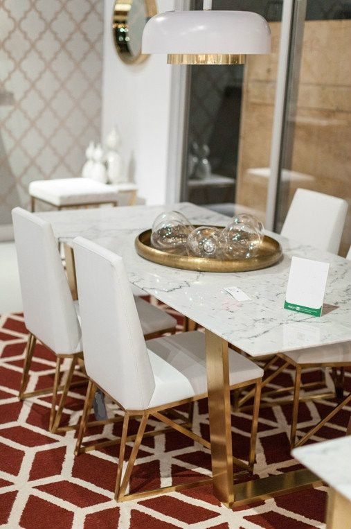 Current Dining Tables With Brushed Gold Stainless Finish For A Simple Yet Exquisite White Marble Dining Table With (#2 of 20)