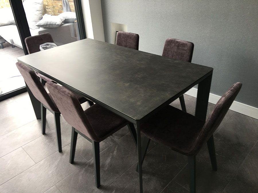 Current Modern Glass Top Extension Dining Tables In Matte Black Intended For Contemporary Dining Combination With Our Urban Ceramic Top (#4 of 20)