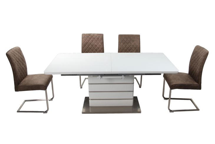 Current Modern Glass Top Extension Dining Tables In Stainless In Customized Modern Extension Table Top Mdf Coveredclear (#5 of 20)