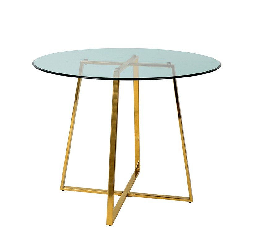 Current Modrest Swain Modern Glass & Gold Round Dining Table Throughout Modern Gold Dining Tables With Clear Glass (#1 of 21)