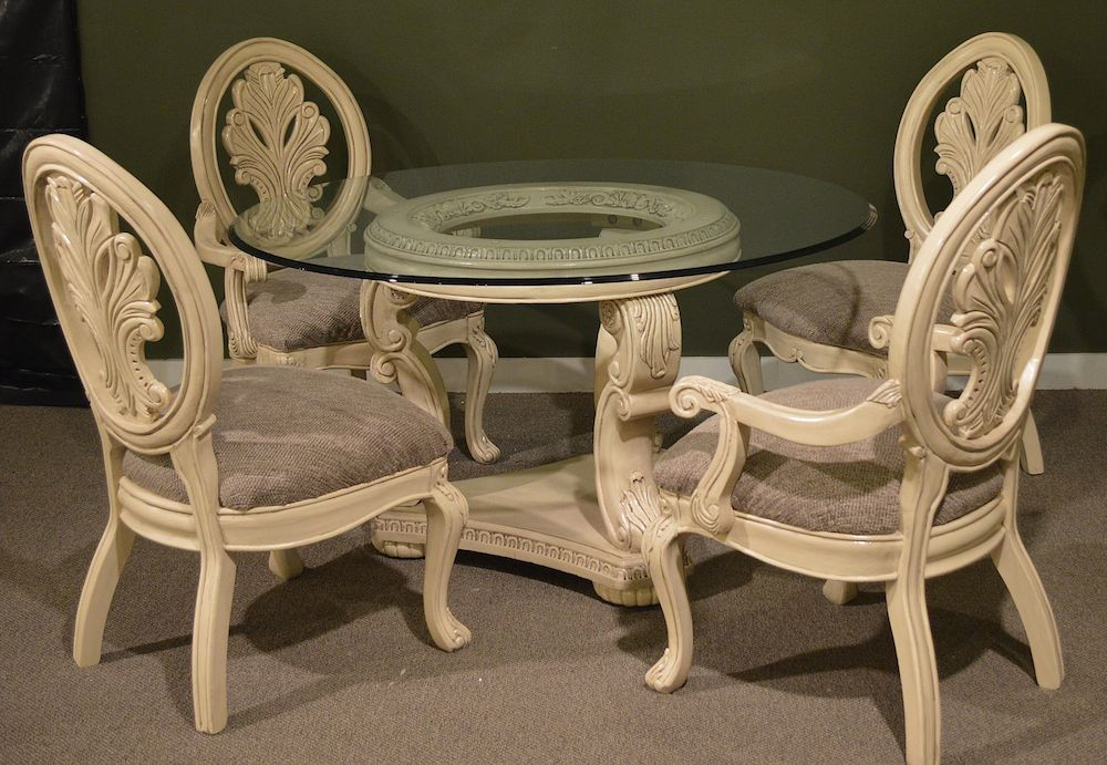 """Current Neo Round Dining Tables In 54 """" Round Glass Top Dining Room Table W/4 Chairs – Neo (View 8 of 20)"""