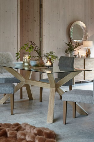 Current Rectangular Dining Tables Within Oak And Glass Rectangle Dining Table (View 3 of 20)
