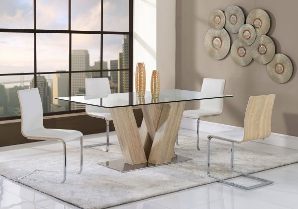 Current Rectangular Glasstop Dining Tables Inside Contemporary White Mdf Rectangular Glass Top Dining Table (View 16 of 20)