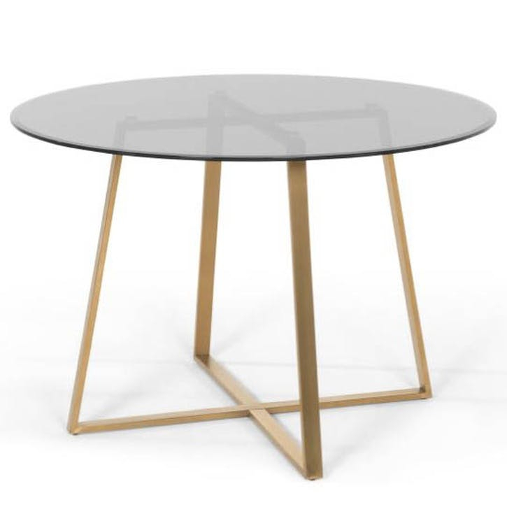 Current Smoked Oval Glasstop Dining Tables Pertaining To Haku Dining Table, Brass And Smoke Glass (View 12 of 20)