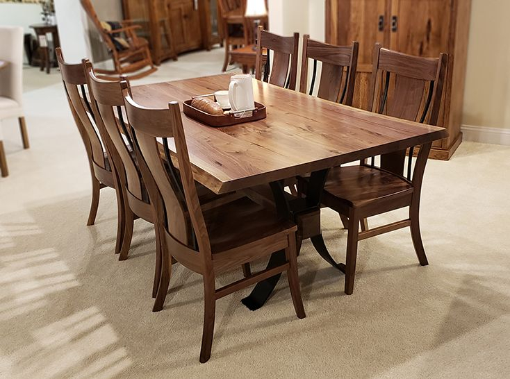 """Current Walnut 42"""" X 72"""" Live Edge Trestle Dining Collection For Walnut Finish Live Edge Wood Contemporary Dining Tables (#2 of 20)"""