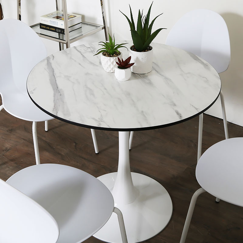 Inspiration about Dakota White Round Dining Table With A Marble Effect Glossy Table Top Throughout 2020 Round Dining Tables (#19 of 20)