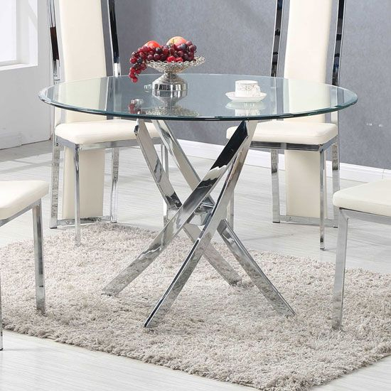 Daytona Dining Table Round In Clear Glass With Chrome Legs Regarding Latest Chrome Contemporary Square Casual Dining Tables (#6 of 20)