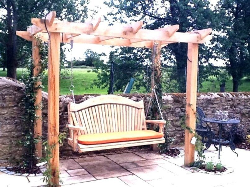Inspiration about Decorating One Seat Porch Swing One Person Patio Swing 3 Regarding 3 Seat Pergola Swings (#2 of 20)