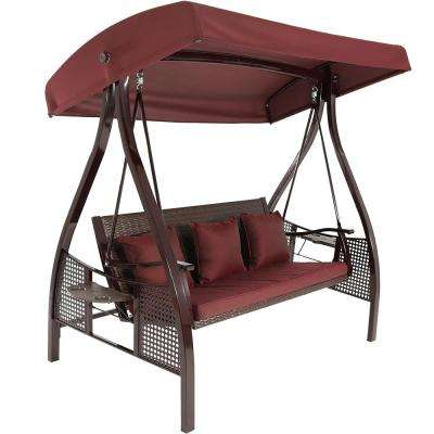 Deluxe Steel Frame Porch Swing With Maroon Cushion, Canopy And Side Tables Intended For Patio Loveseat Canopy Hammock Porch Swings With Stand (View 11 of 20)