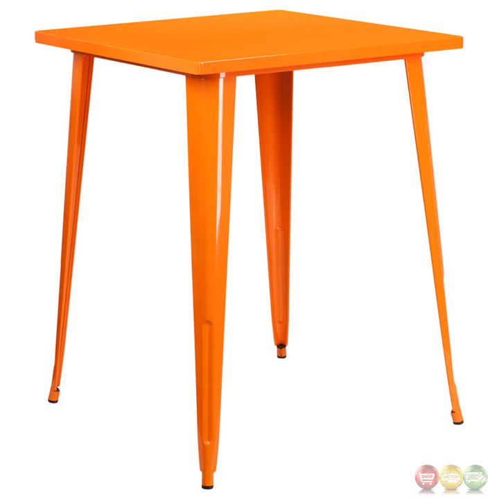 Inspiration about Details About 31.5'' Square Bar Height Orange Metal Indoor Outdoor Cafe  Patio Dining Table Pertaining To Most Recent Patio Square Bar Dining Tables (#4 of 20)