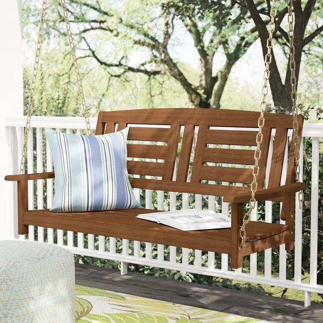 Details About Front Porch Swing Patio Garden Solid Wood Within Rosean Porch Swings (View 8 of 20)