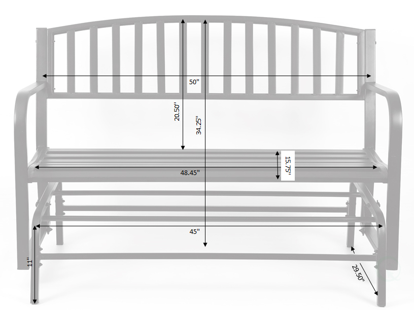 """Inspiration about Details About Gardenised Black Steel Patio Garden Park Yard 50"""" Outdoor  Swing Glider Bench With Black Steel Patio Swing Glider Benches Powder Coated (#2 of 20)"""