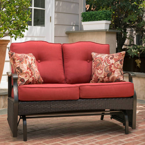 Inspiration about Details About Loveseat Glider Bench 2 Seat Red Steel Frame Finish Outdoor  Patio Furniture Throughout Loveseat Glider Benches With Cushions (#3 of 21)