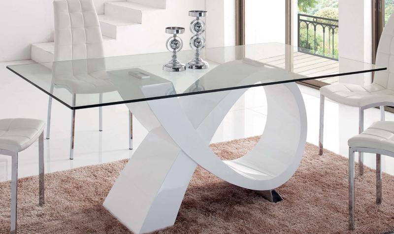 Details About Modern Rectangular Glass Top High Gloss Finish White Dining  Table Esf 989 Within Most Recently Released Rectangular Glasstop Dining Tables (#3 of 20)