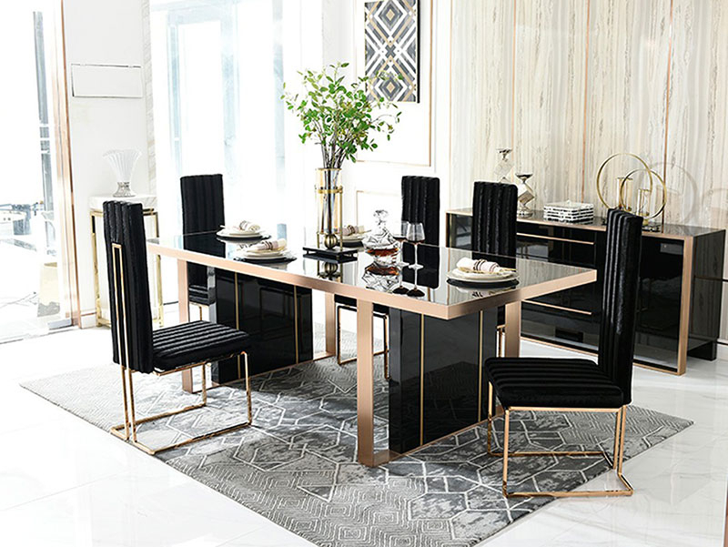 Details About New Modern Dining Room Furniture – 7Pcs Black Rectangular  Table & Chairs Set Nv2 In Widely Used Modern Dining Tables (#3 of 20)