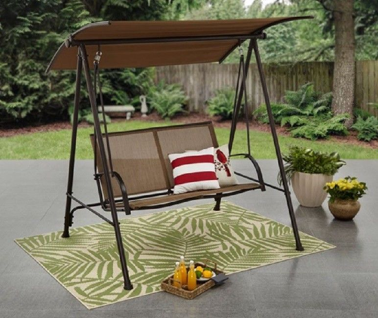 Inspiration about Details About Outdoor 2 Person Patio Swing Chair Steel Intended For 2 Person Outdoor Convertible Canopy Swing Gliders With Removable Cushions Beige (#12 of 20)