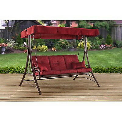 Details About Outdoor Daybed Porch Swing Patio 3 Person Gazebo Canopy Deck Pool Relax Red New Within Patio Gazebo Porch Swings (View 12 of 20)