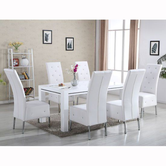 Diamante Dining Table In White High Gloss With 6 Asam Chairs With Preferred Contemporary 6 Seating Rectangular Dining Tables (#11 of 20)