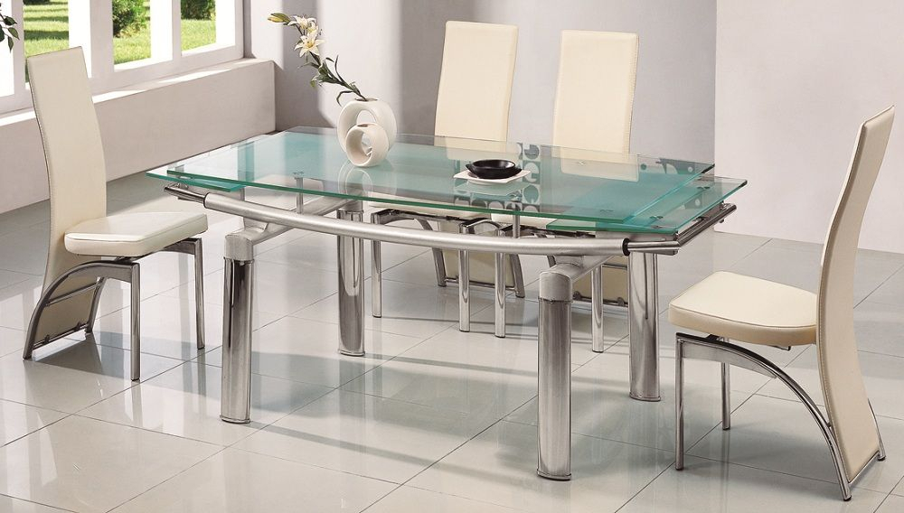 Inspiration about Dining Room Furniture. Family Dinner Party Arrangement With With 2019 Modern Glass Top Extension Dining Tables In Stainless (#13 of 20)