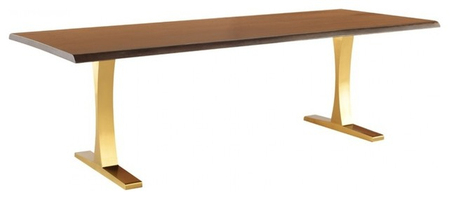 """Dining Tables In Smoked Seared Oak Inside Current 96"""" L Dining Table Solid Live Edge Seared Oak Tapered Stainless Steel Legs  Gold (#3 of 20)"""