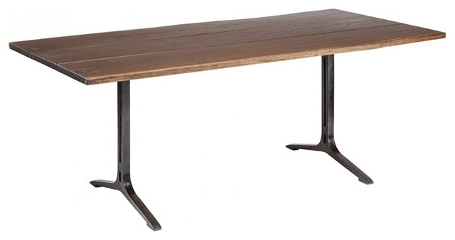 """Dining Tables In Smoked/seared Oak Intended For Recent 78"""" L Onya Dining Table Seared Solid Oak Planks Recycled Cast Iron Pedestal  Legs (#3 of 20)"""