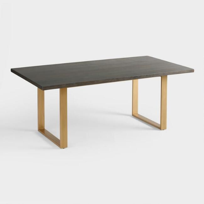 Inspiration about Dining Tables In Smoked Seared Oak With Regard To Most Recently Released With Its U Shaped Matte Gold Base And Sleek Smoke Black (#13 of 20)