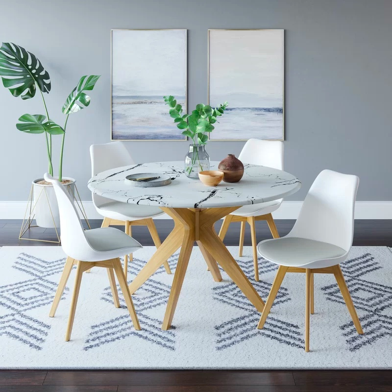 Dining Tables With Black U Legs Throughout Favorite Round Dining Table With Faux Marble Top And Wooden Legs (View 8 of 20)
