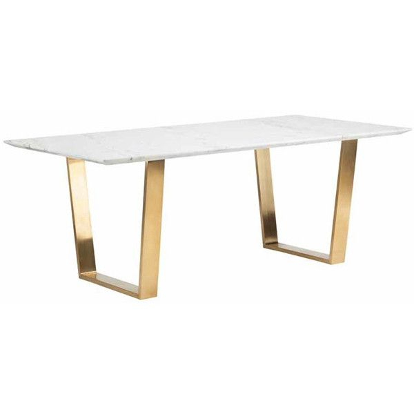 Popular Photo of Dining Tables With Brushed Gold Stainless Finish