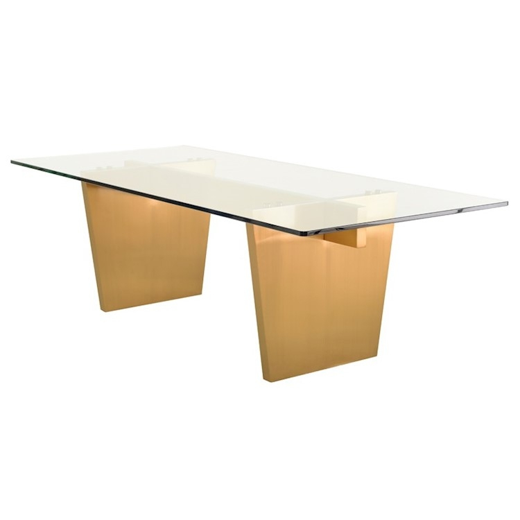Dining Tables With Brushed Gold Stainless Finish Pertaining To Trendy Aiden Dining Table In Clear Glass Top And Brushed Gold Legs (#7 of 20)